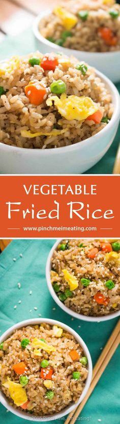 Who needs takeout when you can whip up this easy vegetable fried rice at home? All ingredients are easy to keep on hand so you can make some whenever you'd like! | www.pinchmeimeating.com