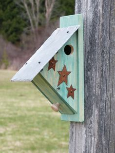 Nuthatch Birdhouse Nest Box Bird House Nestbox Rustic Functional Outdoor Wooden Country Yard Art Garden Art Nut Hatch