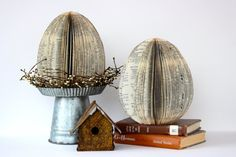 This listing is for one custom extra large book easter egg. I take old, well loved, vintage cook books and turn them into unique centerpieces. This