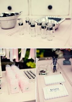 Create your own perfume favor station - Chanel Inspired Baby Shower