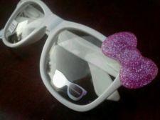 Nerd Hello Kitty Inspired White Glasses PINK GLITTER Bow Clear Lens