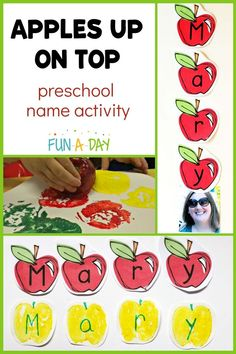 Name activities and literacy activities are staples in my preschool classroom, so why not combine them?? Extend the book Ten Apples Up on Top with this fun apple name activity, perfect for fall! Make prints with real apples or use the free printable.