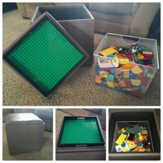 I made this lego table for my son's duplos. It was made with a storage ottoman with a tray, a basket to fit inside, and a duplo building plate. The building plate is attached with command strips instead of glue so that it could be changed or removed for future use. It works perfectly in our living room to give us extra seating or a foot stool as a bonus!