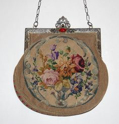 Red Glass Jeweled Frame Needlework Floral Purse