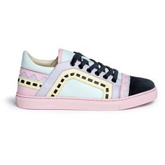Sophia Webster 'Riko' geometric trim leather combo sneakers (¥39,095) ❤ liked on Polyvore featuring shoes, sneakers, pink, tênis, multicolor shoes, real leather shoes, multicolor sneakers, leather sneakers and multi color sneakers