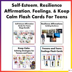 Self-Esteem, Feelings, Keep Calm, & Resilience Flash Cards For Teens Bundle from A Plus Learning You Are Beautiful, You Are Awesome, I Will Be Okay, Self Esteem Affirmations, Building Self Esteem, Research Skills, Affirmation Cards, You Are Blessed, Be Kind To Yourself