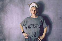 Good Luck Lover Printed Gray top / Printed Shirt / Screen www.morethanmammalinc.etsy.com #royalpeasantry #shopping #fashion #tee #tshirt #screenprint #layeredfashion #postapocalypticfashion