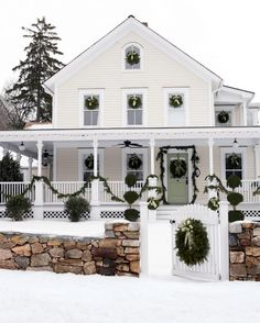 Christmas House Lights, Christmas Home, Xmas, White Farmhouse, Farmhouse Style, Victorian Farmhouse, Porch Decorating, Decorating Your Home, Connecticut