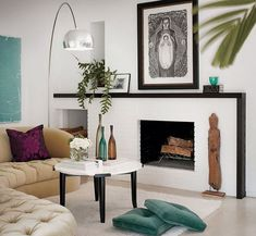 Bright White Fireplace - contemporary - living room - san francisco - by California Home Design - For white painted rooms pick three complementary colours and then repeat them Farmhouse Fireplace Mantels, White Fireplace, Fireplace Design, Simple Fireplace, Fireplace Ideas, Brick Fireplaces, Fireplace Remodel, Fireplace Wall, Modern White Living Room