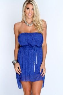 Royal Blue Shimmery Overlay High Low Dress