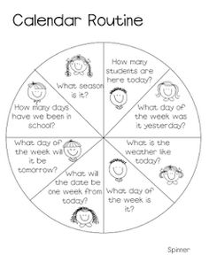 questions for keeping calendar fun and new--put a spinner on it, and then have this be a job for the week--only answer the one that it lands on for that day--great practice for calendar skills without making this time extra-long and extra-boring:) Circle Time Activities, Math Activities, Kindergarten Calendar Activities, Teaching Calendar, Kindergarten Classroom, Teaching Math, Maths, Calendar Skills, Daily Calendar