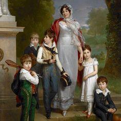 """1814 Baron Gérard, """"Portrait of Louise-Antoinette-Scholastique Guéhéneuc, Madame la Maréchale Lannes, Duchesse de Montebello, with Her Children"""""""