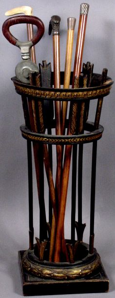 Century classical-form wooden cane stand, 27 x with collection of canes to include three with ster. Wooden Walking Sticks, Walking Sticks And Canes, Walking Canes, Walking Staff, Cane Stick, Wooden Canes, Whittling, French Country Decorating, Hula