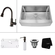 KRAUS All-in-One Farmhouse 29.75x20x14.9 in. 0-Hole Single Bowl Kitchen Sink with Oil Rubbed Bronze Accessories