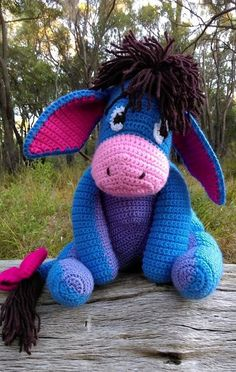 'Eeyore'…front – close-up. Pattern from a booklet of 'Winnie the Pooh' crochet patterns by Leisure Arts. 'Eeyore'…front – close-up. Pattern from a booklet of 'Winnie the Pooh' crochet patterns by Leisure Arts. Disney Crochet Patterns, Crochet Animal Patterns, Stuffed Animal Patterns, Crochet Patterns Amigurumi, Crochet Animals, Amigurumi Doll, Knitting Patterns, Crochet Baby Toys, Crochet Dolls