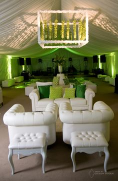 This Green and White wedding with the green up-lighting and white lounge furniture are too perfect for a Spring/Summer wedding!