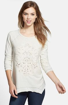 Wit & Wisdom Embroidered French Terry Sweatshirt (Nordstrom Exclusive) available at #Nordstrom