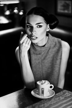 Black and white. Drinking coffee.