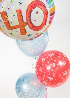 A fun and colourful balloon arrangement for a Birthday party. 40th Birthday Balloons, 40th Birthday Parties, Balloon Shop, Balloon Arrangements, Colourful Balloons, Balloon Bouquet, Christmas Bulbs, Create, Holiday Decor