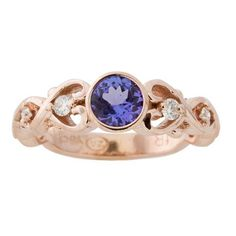 A vintage scroll inspired engagement ring and oh-so-amazing! With a tanzanite centre stone set in rose gold, this delicate handmade design has a forever kind of ring to it. Latest Jewellery, Jewelry Branding, Centre, Sapphire, Delicate, Rose Gold, Engagement Rings, Photo And Video