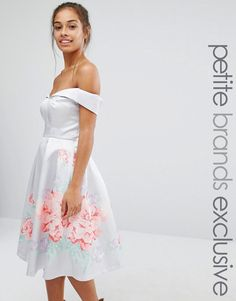 Chi+Chi+London+Petite+Full+Prom+Sateen+Bardot+Dress+With+Floral+Boarder
