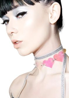Marina Fini Holographic Heart Breaker Choker cuz ya don't belong to anyone, bb~ This sikk choker features big laser cut holographic heart charms that are totally transparent, chain base, and clasp back closure.