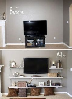 Use floating shelves to add additional storage space in a small bedroom.