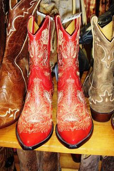 Everyone needs a pair of red cowboy boots! Hell Ya!