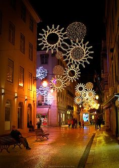 Beautiful street at Christmas in Lisbon, Portugal