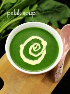 palak soup recipe, spinach soup, cream of spinach soup with step by step photo/video recipe. a healthy nutrient dense liquid food prepared with palak leaves Cream Of Spinach Soup, Creamed Spinach, Veg Soup Recipes, Pasta Recipes, Recipe Pasta, Vegetarian Recipes, Vegetarian Soup, Snacks Recipes, Entree Recipes