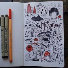 Day 10: Mushrooms. A touch of color and trying different shapes and lines. Had fun with this one. #cbdrawaday #creativebug #creativelifehappylife #dailysketches #doodles #31thingstodraw #drawings by alumakesthings http://ift.tt/1mNMdwp