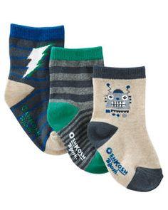 3-Pack Robot Crew Socks
