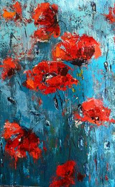 Poppy Flower Painting, Acrylic Painting Flowers, Flower Art, Underwater Painting, Painting Wallpaper, Floral Wall Art, Art Oil, Canvas Wall Art, Framed Canvas