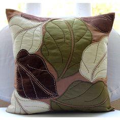Marrón Fundas De Cojines, Cuadrado Multicolor Hoja Apliques Tema Tropical 40x40 cm Ante - Leafy Collection