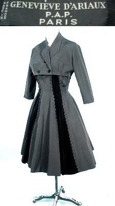 c. 1950's GENEVIEVE D'ARIAUX, P.A.P, Paris, Made in France Dress with Short Jacket of Black Faille and Velvet