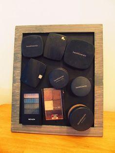 DIY Makeup Storage. Mason Jars and Magnetic Frame!