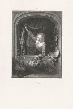 Johann Wilhelm Kaiser (I): Meisje kijkend uit een venster. Ets. 1823 - 1900. Rijksmuseum, Amsterdam. Naar Gerard Dou: Jonge vrouw met mand met vruchten in een venster. 1657