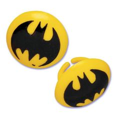 Batman Yellow bat logo cupcake rings picks by AisforApronStrings, $6.25