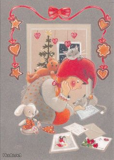 Kaarina Toivanen Christmas Gnome, Christmas Art, Christmas 2019, Vintage Christmas, Christmas Ornaments, Christmas Cartoons, Winter Art, Elves, Gnomes
