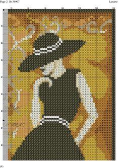 Lady with black dress x-stitch
