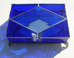 Cobalt Blue Stained Glass Jewellery Box