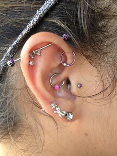 Daith, tragus, forward helix piercings