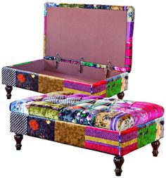 A stunning multicoloured designer deep buttoned patchwork storage ottoman part of a fabulous new range of high quality sofas and ottomans H42-98cm