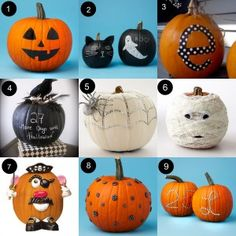 Adorable no carve pumpkin ideas. Love the Mr. Potato head pumpkin!