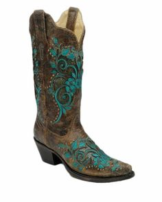 Womens Dark Ant. Saddle/ Turquoise Inlay & Studs Boot - R1213   .                $241.95     Corral