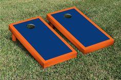 Orange & Blue Border Cornhole Boards Game Set (Matching Version 1)