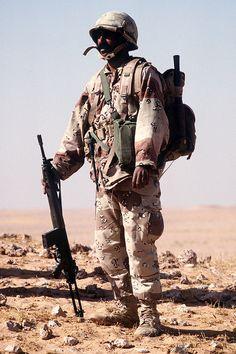 A Saudi infantryman with the G3A4 rifle.