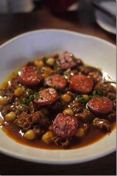 Callos A La Madrilen - ox tripe, spicy chorizo and chickpeas in a rich tomato red sauce.