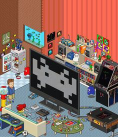 Isometric Pixel Art - Space Invaders. Illustration by Army of Trolls.