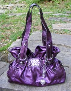 Kathy Van Zeeland Metallic Lavender Waisted Hand bag, Shoulder Bag, KVZ Purse #KathyVanZeeland #ShoulderBag